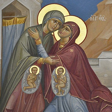 The greeting of Mary & Elizabeth. John knew Who his cousin (Jesus) IS. As the scripture says,